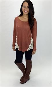 Junky Trunk Boutique. Pumpkin patch Sweater Tee. Lightweight sweater with ivory lace crochet detail!!!! LOVVVEEE this for fall!!!
