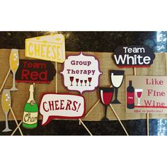 Wine party themed birthday photo booth props di SunshineWithJess