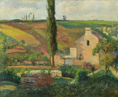 The Mathurins Hill at the Hermitage, Pontoise 1876 - Camille Pissarro Impressionist Landscape, Impressionist Artists, Post Impressionism, Landscape Paintings, Landscapes, Camille Pissarro Paintings, Pissaro Paintings, Gustave Courbet, French Paintings