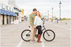 Meredith and Shawn | Engaged | Ocean City Engagement Session | Engagement Session on Boardwalk and with Bicycles | Kaitlin Noel Photography | Ocean City Professional Photographer