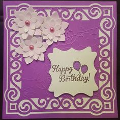 Gentle handmade birthday card in purple and green by ArtDenia on Etsy