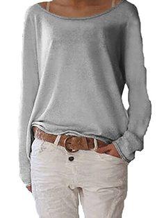 FRAUIT Damen Bluse Elegant Baumwolle V-Ausschnitt Langarm Casual Oberteil Lose Langarmshirt Vintage Tunika Hemd T-Shirt Pullover Warm Knitted Langarm Rundhals Casual Elegant