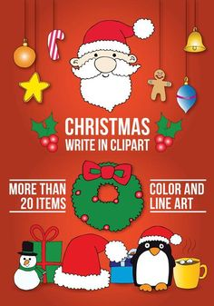 Christmas write in clip art for your teaching resources