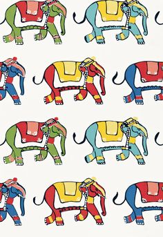 Parade.  This print features a very colorful parade of circus elephants, printed on crisp white cotton. The palette is multihued and vibrant.