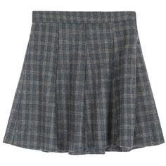 Check Zip-Up Side Flared Skirt ($28) ❤ liked on Polyvore featuring skirts, clothing - skirts, bottoms, pleated skirt, high waisted knee length skirt, checkered skirt, flared skirts and knee length pleated skirt