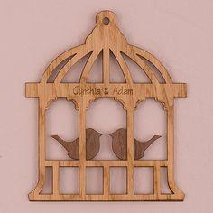 Birdcage Personalized Wood Veneer Sign