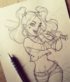 Illustration by Harley Quinn. Our perfect drawing. - Jeena F. - Illustration by Harley Quinn. Our perfect drawing. Art Drawings Sketches, Cute Drawings, Drawing Art, Awesome Drawings, Awesome Sketches, Joker Drawings, Angel Drawing, Drawing Designs, Outline Drawings