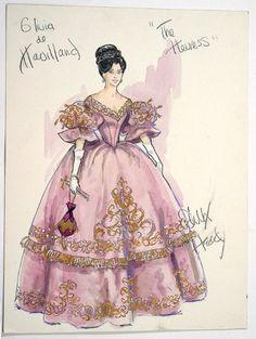 Nineteen Fifty Four: Edith Head vintage costume illustration for Olivia deHavilland
