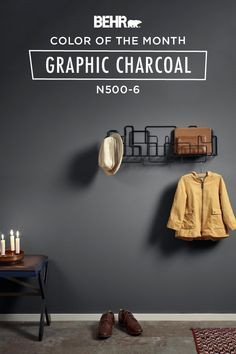 Color of the Month: Charismatic Sky - Colorfully, BEHR - For your next DIY home makeover project, make the bold choice. The Behr paint Color of the Month, G - Behr Paint Colors, Exterior Paint Colors, Bedroom Paint Colors, Room Colors, Wall Colors, House Colors, Basement Paint Colors, Grey Wall Color, Dark Paint Colors