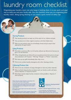 Laundry Room Safety Checklist - By American Cleaning Institute
