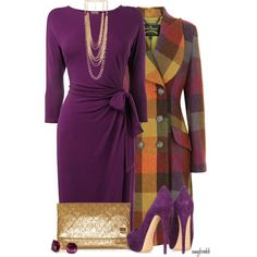 A fashion look from November 2013 featuring purple shift dress, double breasted coat and wide shoes. Browse and shop related looks.