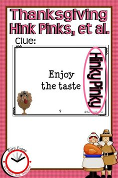 HINK PINKS, HINKY PINKIES, and HINKITY PINKITIES are riddles that help children learn to problem solve while exercising vocabulary skills (definitions, synonyms, parts of speech, rimes, ...). These Thanksgiving themed, printable task cards prompt your students to interpret data, make inferences, draw conclusions, and analyze new information. 3rd Grade Reading, Third Grade Math, Fourth Grade, Word Riddles, Reading Comprehension Activities, Teaching Activities, Problem Solving, Kids Learning, Vocabulary