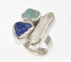 925 zilveren ring met edelstenen ruwe Tanzanite door GemsElement