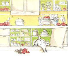 in the kitchen. Verona Italy, Illustrations, Comics, Kitchen, Kids, Animals, Art, Young Children, Art Background