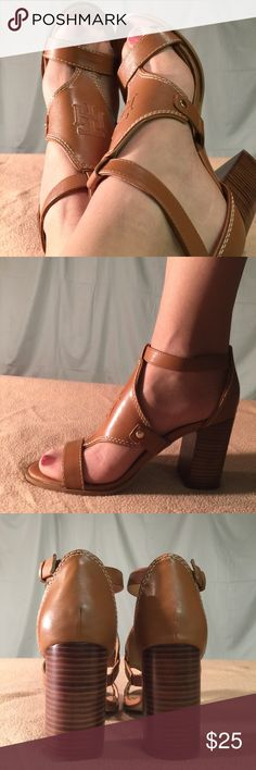 New Tommy Hilfiger Brown Leather Sandal/Heels These shoes are Brand New/Never Worn and are in PERFECT CONDITION. The heel height of this shoe shoe is 4 inches tall. Tommy Hilfiger Shoes Heels