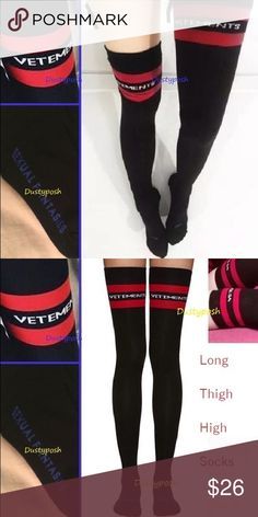 """Black Thigh High Socks Over Knee Sexual Fantasies Long black over the knee socks. Soft, cute and sexy, can be worn over the knee or scrunched down. Approximately 21 inches from heel to top. 7.5"""" heel to toe. These look great and are still long enough to be one comfortably over the knee. Purpleish blue sexual fantasies print on soles, left and right foot marked also ..very cute. Not HUE brand, just had to pick a brand for listing purposes. New never worn in package. HUE Accessories Hosiery…"""