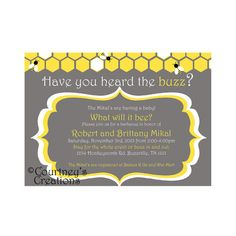 """5x7"""" Printable Bee themed baby shower or gender reveal invite"""
