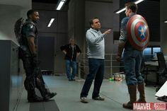Anthony Mackie (Falcon), director Joe Russo & Chris Evans (Captain America) on the set of Captain America: The Winter Soldier