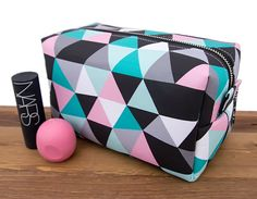 Items similar to Toiletry Bag - Cosmetic Bag - Makeup Box - Boxy Bag - Make Up Bag - Large Makeup Case - Friend Gift - Cosmetic Organizer - Triangles on Etsy Cute Makeup Bags, Makeup Box, Lip Makeup, Cute Pencil Case, Pencil Pouch, Cosmetic Items, Cosmetic Bag, Cosmetic Companies, Trousse Make Up