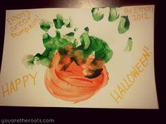 Pumpkin Hand Print Halloween Toddler Craft