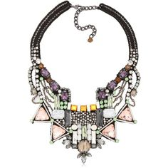 NOCTURNE Pora Necklace - Multi (€340) ❤ liked on Polyvore featuring jewelry, necklaces, accessories, collares, multi, collar necklaces, leather jewelry, genuine leather necklace, collar jewelry and leather collar necklace