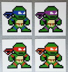 8-bit TMNT MINI MAGNETS Set Mega Man Style Teenage Mutant Ninja Turtles