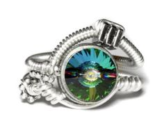ON SALE TODAY - Steampunk Jewelry - Ring - Vitrail Swarovski Crystal - Size 7.5 Us