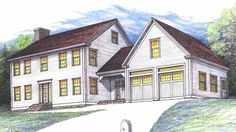 Colonial House Plan with 2796 Square Feet and 4 Bedrooms from Dream Home Source . - House Plans, Home Plan Designs, Floor Plans and Blueprints Colonial House Exteriors, Colonial House Plans, Garage House Plans, House Plans One Story, Colonial Style Homes, Bedroom House Plans, Story House, House Floor Plans, Modern Farmhouse Exterior