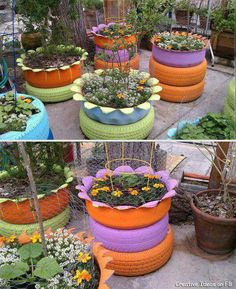 Cute flower pots made from tires.