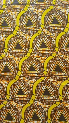 Yellow and brown African fabric