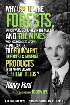 Henry Ford...Definitely had his faults, but had it right on utilizing renewables, instead of stripping our planet of non-renewables.