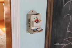 So cute!! An old tin matchbox holder used as a chalk holder.  Perfect for the chalkboard I don't yet have on my wall. :)