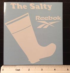 The Salty Reebok Vinyl Decal Sticker white rubber fishing boot FREE SHIP by ZsquareDesigns on Etsy https://www.etsy.com/listing/176688774/the-salty-reebok-vinyl-decal-sticker