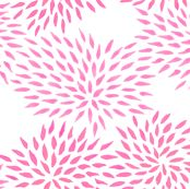 Summer Mums in pink fabric by domesticate for sale on Spoonflower - custom fabric, wallpaper and wall decals