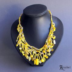 Yellow freeform beaded necklace  boho / bohemian by Anabel27shop,