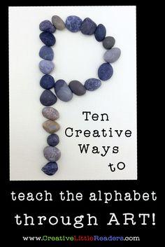 10 Creative Ways to Teach the Alphabet Kindergarten Reading Activities, Preschool Literacy, Reading Resources, Teaching Numbers, Teaching The Alphabet, Learning Letters, Alphabet Crafts, Alphabet Activities, Alphabet Art