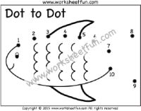 Dot to Dot – Fish – Numbers 1-10 – One Worksheet