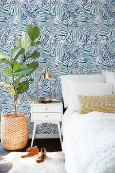 Tropical wallpaper Watercolor leaves wallpaper by BohoWalls