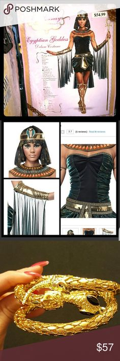 Egyptian Costume Women's size small, excellent condition. All pieces included. And also includes extra accessories, leg wraps, snake arm wrap and wig (value $25) beautiful costume! I won best dressed at a Halloween party in this! It is stunning in person got tons of compliments too 😍👻🎃 California Costume Collections Other