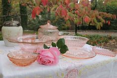 Pink depression glass, so soft and feminine inspiration for pink wedding