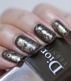 """from apolishaddict.com Dior """"Amazonia"""" with Chanel """"Diwali"""" as a topper, done with saran wrap!"""
