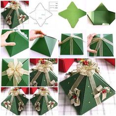 Christmas Gifts Box Ideas - pyramid christmas tree gift box DIY Wonderful DIY Christmas Tree Pop up Greeting. Diy Christmas Pyramid, Christmas Tree With Gifts, Xmas Gifts, Handmade Christmas, Christmas Holidays, Christmas Decorations, Christmas Ornaments, Xmas Trees, Tree Decorations