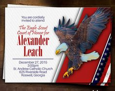 Eagle Scout Court of Honor Invitation: Sage and Script Eagle