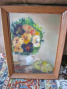 Vintage oil painting featuring pansies for sale at More Than McCoy on TIAS