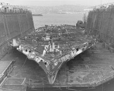 USS West Virginia (BB-48) during scrapping. All that is left is the bottom of her hull.