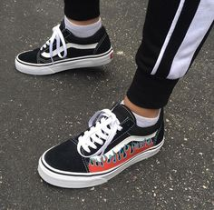 Custom Flame Vans Black