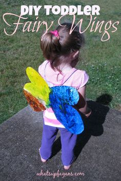 DIY Fairy Wings crafts for toddler kids. Super easy, cute, and cheap, using things around the house.