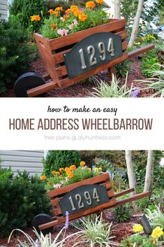 Make a simple Home Address Wheelbarrow. Great project for beginner woodworkers!