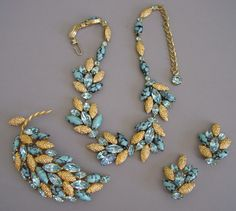 "CAVINESS aqua art glass and rhinestones 16"" necklace, 3-5/8"" brooch and 1-1/2"" earrings.   http://www.morninggloryjewelry.com"