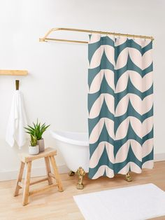 'Mid Century Mod Geometric Pattern in Teal Blue and Blush Pink' Shower Curtain by JuneJournal – Laundry Room İdeas 2020 Beach Shower Curtains, Colorful Shower Curtain, Bohemian Shower Curtain, Colorful Curtains, Contemporary Bathroom Designs, Modern Bathroom Decor, Bathroom Ideas, Pink Showers, Men Shower
